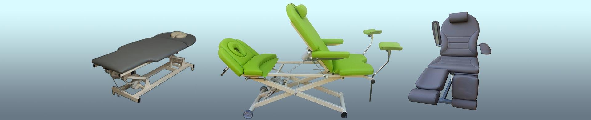 Egészségügyi vizsgáló és kozmetikai székek, masszázságyak.
